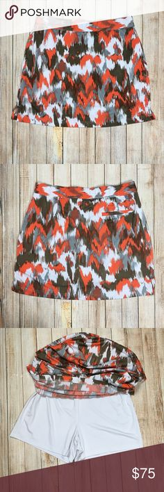Callaway printed golf skirt with shorts Callaway printed golf skirt with shorts underneath (skort). Bright orange and gray watercolor pattern. This baby has pockets! Wear it on the golf course or as comfy option for your weekend adventures.   EUC, no flaws.  Approximate measurements provided in photos.  OFFERS ALWAYS WELCOME!  Tags: sport, sporty, outdoors, golfing, bright, weekend Callaway Skirts Mini
