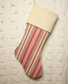 Pink Red Brown and Cream Stripe Vintage French Ticking and Linen Stocking