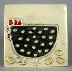 Handmade ceramic tile 4x4 black hen by ceramiquecote on Etsy, $20.00