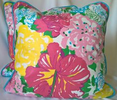 "Lilly Pulitzer Lee Jofa Heritage Floral Pinks Blues! Custom Pillow Cover, Throw Pillow, Decorative Pillow 19""x19"" by yorkshiredesigns on Etsy"
