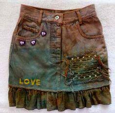 Saia Jeans Customizada Cintura Alta 38 Babados Rasgados
