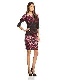 Tracy Reese Women's Warp Floral Crepe Sleeve Dress