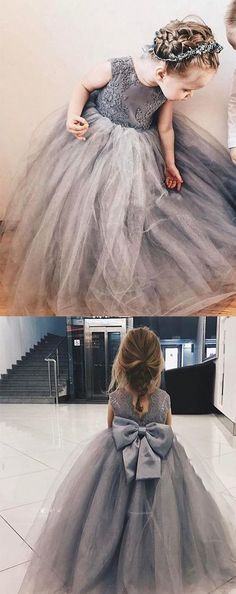 Unique Prom Dresses, Ball Gown Jewel Grey Flower Girl Dress with Lace Bow, There are long prom gowns and knee-length 2020 prom dresses in this collection that create an elegant and glamorous look