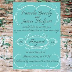 Printable Wedding Suite - Invitation, RSVP & Information Card - Vintage French Style - Romantic - Mint