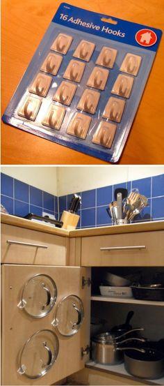 Adhesive hooks lid organizer