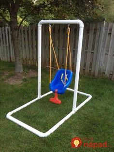 What you'll need: 6 - PVC pipe (Cut 4 in half) 6 - 90 deg. PVC Connectors 2 - T - PVC Connectors (for uprights) 2 - Stainless steel eye hooks with bolts dia.) 4 - stainless steel washers 1 - Infant swing of your choice. Pvc Pipe Crafts, Pvc Pipe Projects, Diy Swing, Outdoor Baby Swing, Baby Swings, Infant Activities, Kids And Parenting, Diy For Kids, Baby Toys