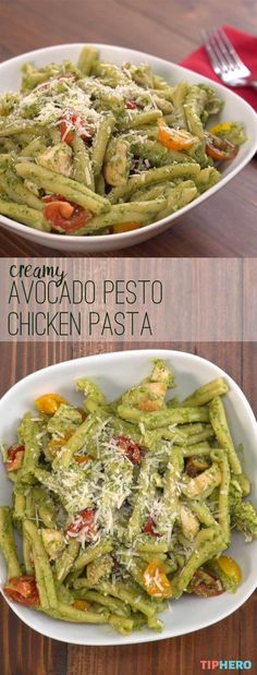 Shake up your pasta dinner with this Avocado Pesto Chicken Pasta! Yes its pasta with pesto with a healthier twist thanks to using avocados instead of oil! When you make it with chicken and cherry tomatoes its a colorful heart-healthy and most of a Chicken Pasta Recipes, Healthy Pasta Recipes, Healthy Pastas, Pesto Chicken, Healthy Cooking, Healthy Snacks, Healthy Eating, Cooking Recipes, Recipes With Chicken And Avocado