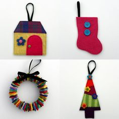 Rescued Wool Ornaments - Sampler Set of Four - recycled wool by alicia todd