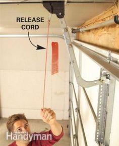 Garage door opener release cord in case of power outage you can manually open the door