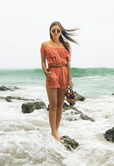 Isabella Romper in Coral - Whimsy and Row. #coralromper #offshoulderromper #offshoulder #sustainablefashion #ecofriendly #greenfashion #sustainable