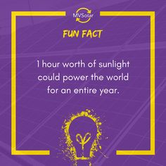 MV Solar Fun Fact: 1 hour worth of sunlight could power the world for an entire year. Solar Solutions, Renewable Energy, Solar Panels, Sunlight, Fun Facts, Ideas, Sun Panels, Solar Panel Lights, Sun Light