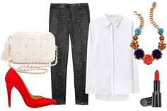 I'll take everything but the necklace, thx :  Zara Basic Suede Court Shoe, $79.90, available at Zara; Rebecca Minkoff Polka Dot Quilted Flirty Bag, $175, available at Shopbop; Elizabeth & James Winston Metallic Brocade Straight-Leg Pants, $395, available at Net-a-Porter; T by Alexander Wang Pique Oxford Shirt, $175, available at La Garconne; Erickson Beamon Rose Garden Bib Necklace, $1,100, available at Shopbop; Armani Beauty Rouge d'Armani Sheer, $30, available at Neiman Marcus.