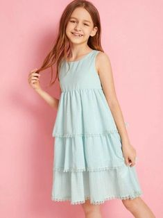 Girls Lace Trim Tiered Layered Plaid Dress - - Source by iaralebrao Cute Little Girls Outfits, Stylish Dresses For Girls, Frocks For Girls, Kids Frocks, Little Girl Dresses, Kids Outfits, Girls Dresses, Kids Summer Dresses, Houndstooth Dress