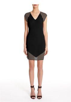 Mesh Silk Combo Sheath Dress