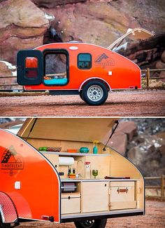 Timblerleaf Trailer - The appeal of the teardrop camper is that they're light weight and easy to tow with just about any vehicle. Denver's Timberleaf hand-builds their teardrops to order, with loads o(Camping Hacks Kitchen) Camper Hacks, Diy Camper Trailer, Teardrop Camper Trailer, Rv Hacks, Building A Teardrop Trailer, Caravan Hacks, Camper Box, Tiny Camper, Small Campers