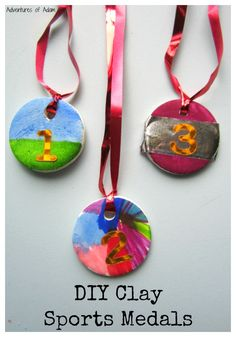DIY Clay Sports Medals.  Use glue and cornflour to create your own DIY Clay. Then make sport medals to celebrate Sports Day or the Olympics.