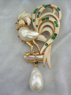Vintage Hattie Carnegie Large Enamel & Pearl Rooster Pin/ Pendant from vintagejewelrytoo on Ruby Lane