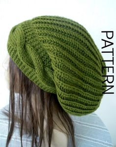 (6) Name: 'Knitting : Cable Knit Slouchy Hat