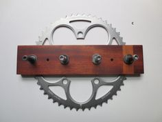 Key Rack made from a Bicycle Gear Big Ring and Reclaimed Wood