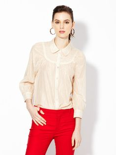 Adorable outfit red pant Marc Jacobs Liza Metallic pinstripe blouse