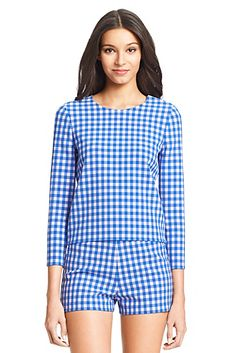 DVF Giselle Gingham Print Top In Blue Riviera/ White