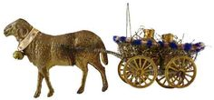 Dresden Antique Christmas Ornaments: Sebnitz Ram Pulling Cart