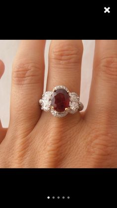dd668389916 Estate Deep Red Ruby and Diamond Platinum and Yellow Gold Ring