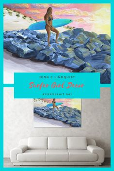 Surfer Girl at the Jetty Beach Paintings, Beach Artwork, Beach Wall Art, Seascape Paintings, Landscape Painting Artists, Surf Shack, Girl Decor, Surf Art, Mermaid Art