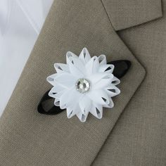 Wedding Boutonniere Wedding Lapel Flowers Boutonnieres for Men Groom's Flower Black and White Flower Boutonniere Flower for Groom