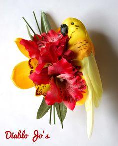 Yellow Parrot Tropical Hair flower, Rockabilly, Summer Alternative hair, Pin Up by DiabloJos on Etsy