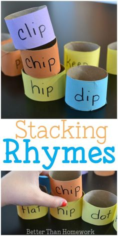 39 Effective Advice Practice rhyming words with this simple DIY reading game for kids, stacking rhyming words. Build towers out of rhymes and see how high you can make th. Rhyming Word Game, Rhyming Activities, Literacy Games, Phonics Games, Kids Learning Activities, Language Activities, Teaching Ideas, Early Literacy, Comprehension Activities