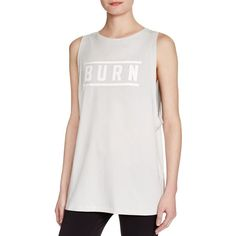 Under Armour Studio Burn Muscle Tee ($40) ❤ liked on Polyvore featuring tops, grey, under armour tops, under armour singlet, gray tank, muscle t shirt and under armour tank