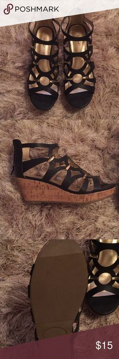 Black wedges Black wedges with gold embellishments!  Never worn! NWOT!  Size four in kids, but women's size six will fit perfectly! Shoes Wedges