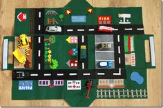 Car play mat that fold up into a house. www.cookcleancraf...