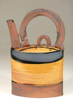 Ceramics by Richard Phethean at Studiopottery.co.uk - Oval tea pot h.30cm, 2008.