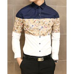 Stylish Shirt Collar Color Splicing Abstract Print Long Sleeves Polyester Shirt For Men found on dresslily.com