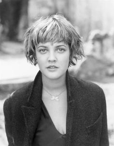 Drew Barrymore- wish i could look this good with short hair.