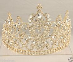 QUINCEANERA LARGE TALL CLEAR CRYSTAL NAVETTE TIARA GOLD...aaahh!! inlove