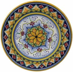 Italian Majolica Ceramic Cheese Plate - high x diameter) in high x 8 in diameter Painted Ceramic Plates, Hand Painted Pottery, Pottery Painting, Hand Painted Ceramics, Ceramic Painting, Ceramic Pottery, Ceramic Art, Pottery Art, Italian Pottery