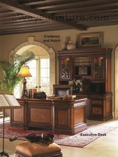 Vineyard Executive Office Home Office Desk Furniture Napa Style Cherry Finish Executive Office Furniture, Executive Office Desk, Modern Office Desk, Home Office Desks, Home Office Furniture, Office Suite, Business Furniture, Executive Style, Bedroom Furniture