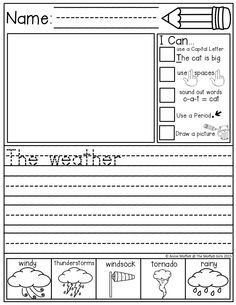 """Journal Prompts for BEGINNING and/or STRUGGLING Writers!  Each prompt has """"I Can…"""" Statements and an illustrated Word Bank to help generate ideas!"""