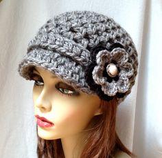 Crochet Womens Hat Newsboy Charcoal Very Soft by JadeExpressions, $42.00