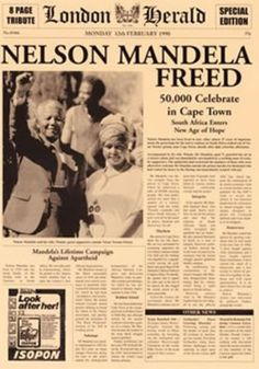 This is a newspaper broadcasting the news that Nelson Mandela was freed from prison. Mandela was arrested for standing up against a government that commuting outrageous human rights abuses against black South Africans. He was freed on November Newspaper Article, Old Newspaper, Newspaper Headlines, Back In The 90s, African American History, Black History Month, World History, Cover, In This Moment
