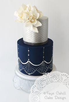 Faye Cahill Cake Design, navy and silver contemporary wedding cake