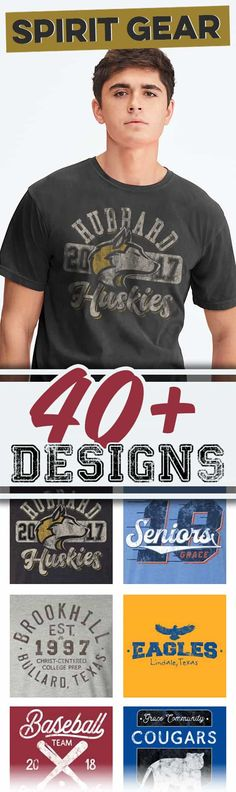 If you're looking for vintage school spirit shirt ideas, check out over 40 design ideas that are customizable to fit your school. Ask for a free quote and art proof.