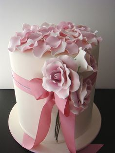 """""""Pretty in Pink"""" Bridal Shower lay real petals on top or lay whole roses on top. The ribbon looks more Victorian"""