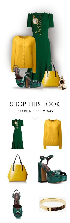 """""""D&G In Green"""" by bb60477 ❤ liked on Polyvore featuring Dolce&Gabbana, Lands' End, Orla Kiely, Marc Jacobs and Michael Kors"""
