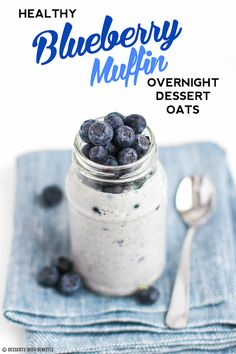 Healthy Blueberry Muffin Overnight Oatmeal -- it's like a blueberry muffin in the form of oatmeal! Sweet, fruity and satisfying, yet refined sugar free, low fat, high fiber, high protein, gluten free, dairy free and vegan!