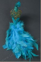 """11"""" GLITTER FEATHER PEACOCK W/CLIP TEAL"""