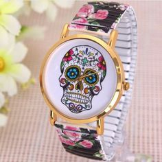 Sugar Skull Watch - Wrist with flowers - Black